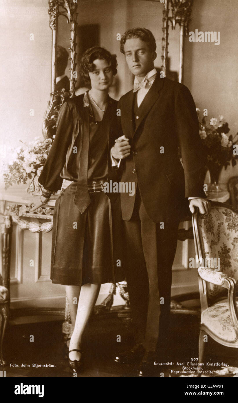 The official engagement photograph (taken on 21st September 1926) of Princess Astrid of Sweden, born Astrid Sofia - Stock Image