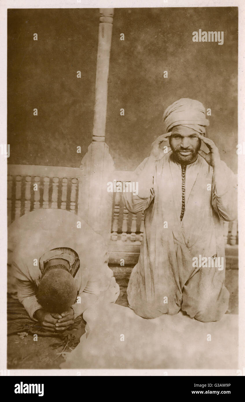 Muslims in Egypt at Prayer     Date: circa 1909 - Stock Image