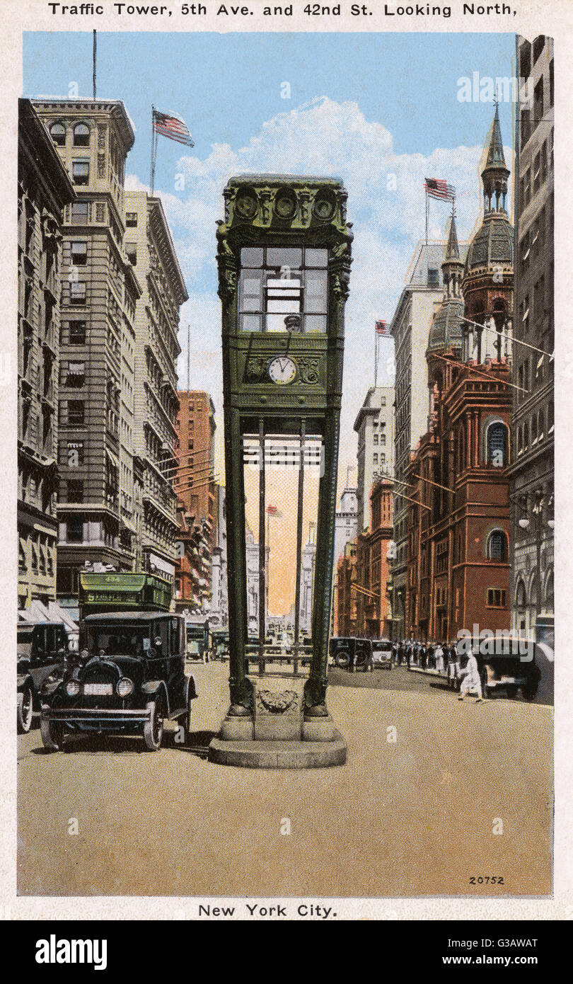 Traffic Tower, 5th Avenue and 42nd Street looking North, New York City, NY, USA.     Date: 1920s Stock Photo