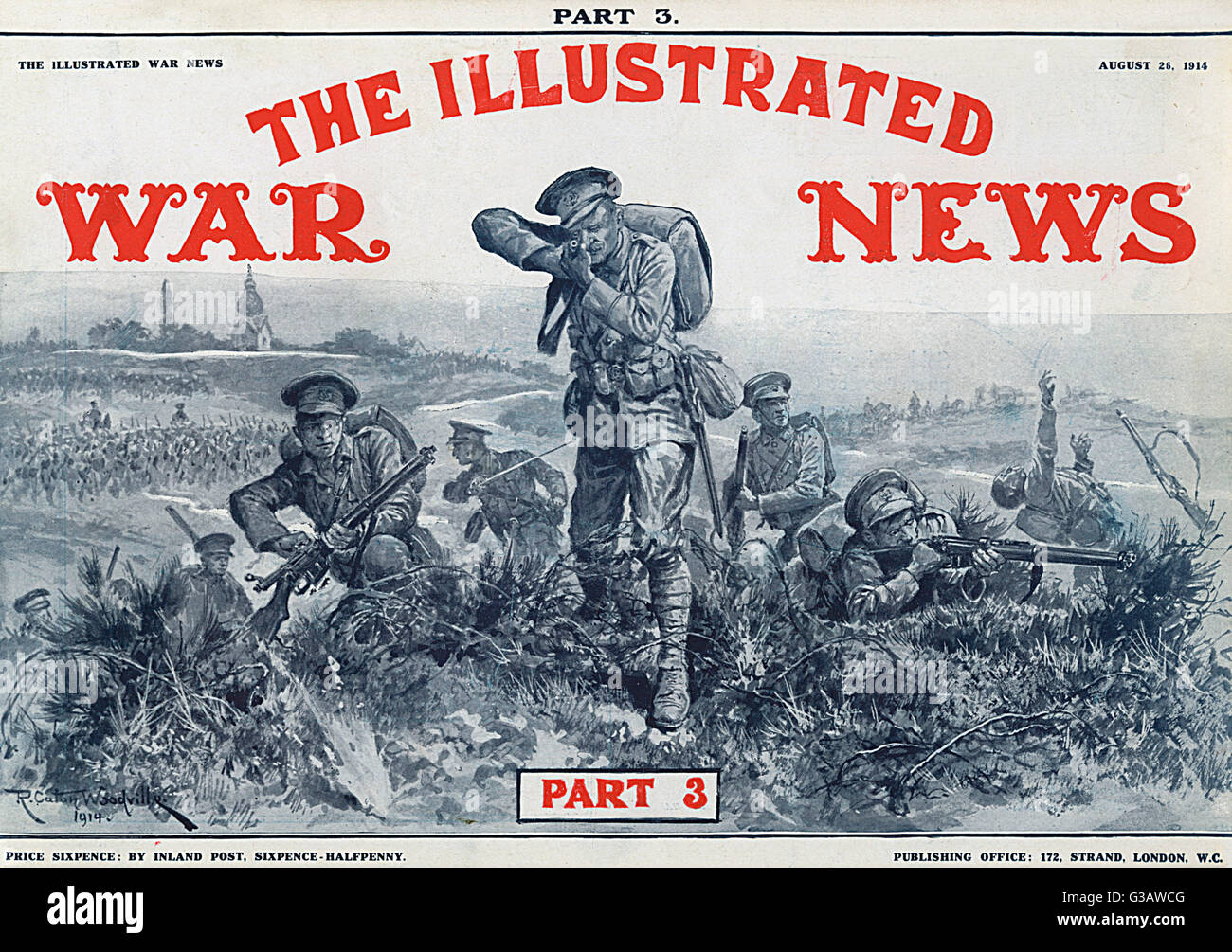Front cover of The Illustrated War News featuring British infantry fighting in the open, a form of warfare that - Stock Image
