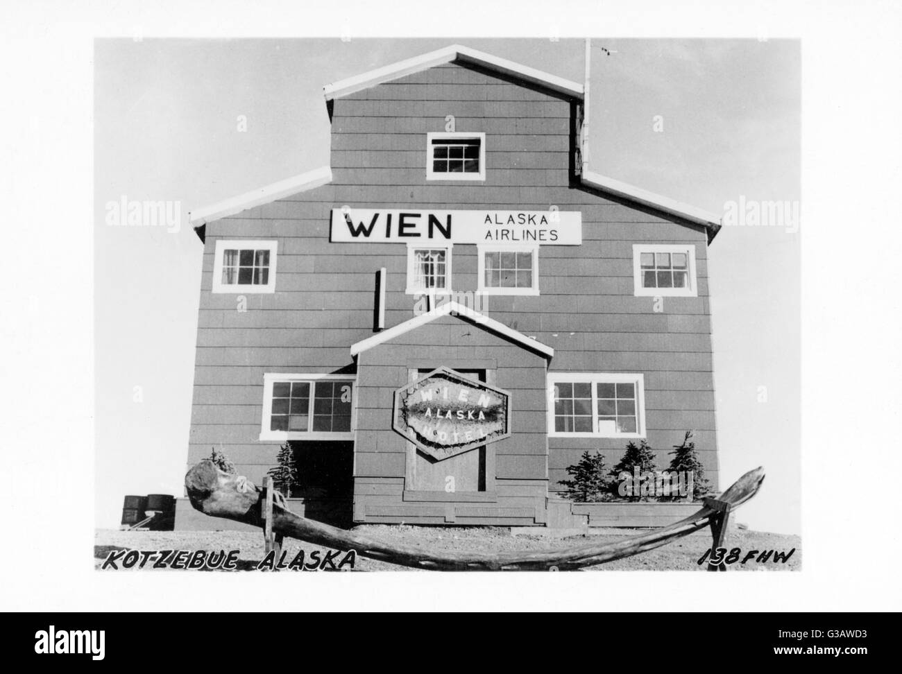 Wien Hotel and Alaska Airlines, Kotzebue, NW Alaska, north of the Arctic Circle, Bering Strait, USA.      Date: - Stock Image