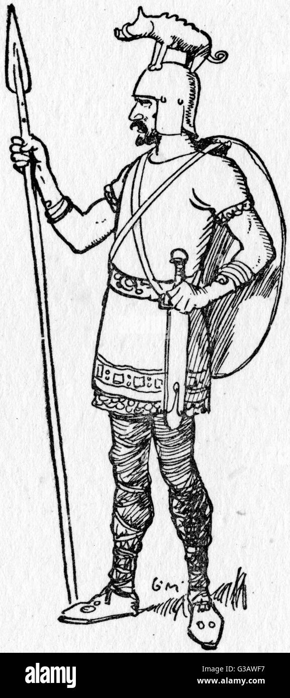 Early medieval Warrior with boar-crested Spangelhelm and holding a spear.     Date: circa 14th century - Stock Image