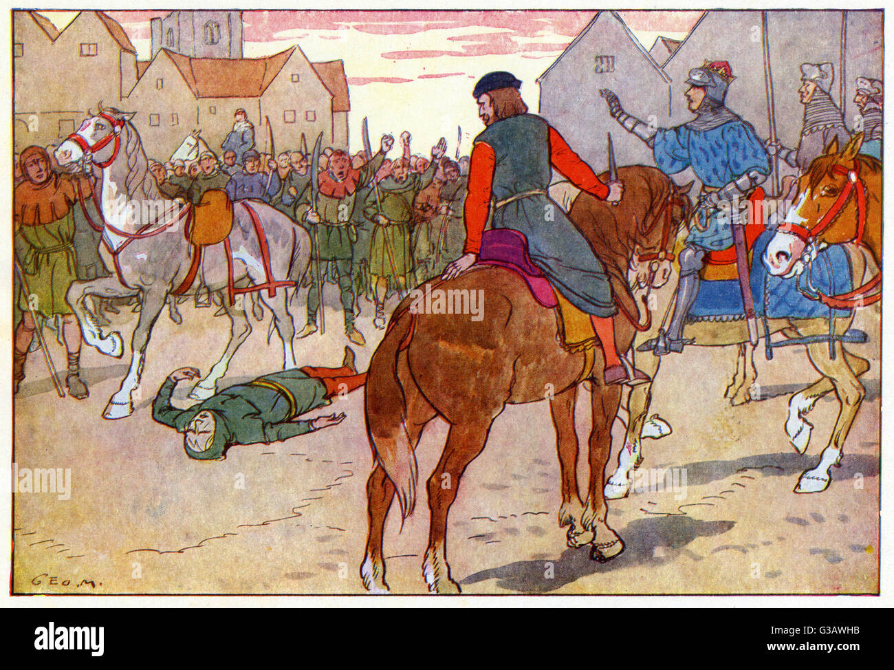 The death of Wat Tyler, the leader of the 1381 Peasants' Revolt in England.  He marched a group of protesters from Canterbury to the capital to oppose  the ...