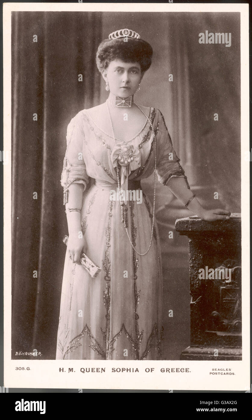 QUEEN SOPHIA OF GREECE Wife of Constantine I  (they married in 1889),  daughter of Friedrich II, Emperor of Germany - Stock Image