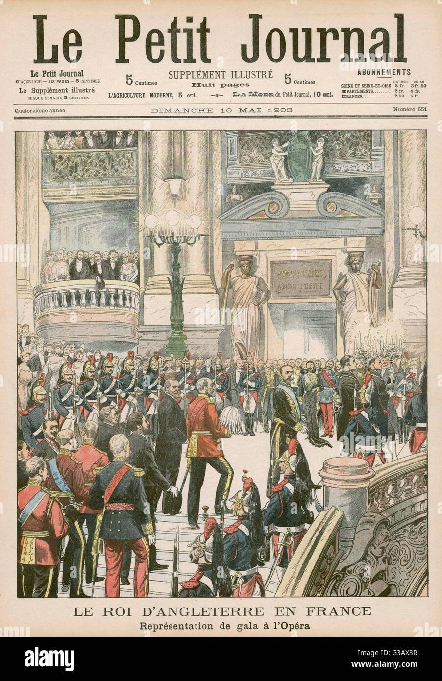 EDWARD VII  Visiting the Paris Opera        Date: 1903 Stock Photo