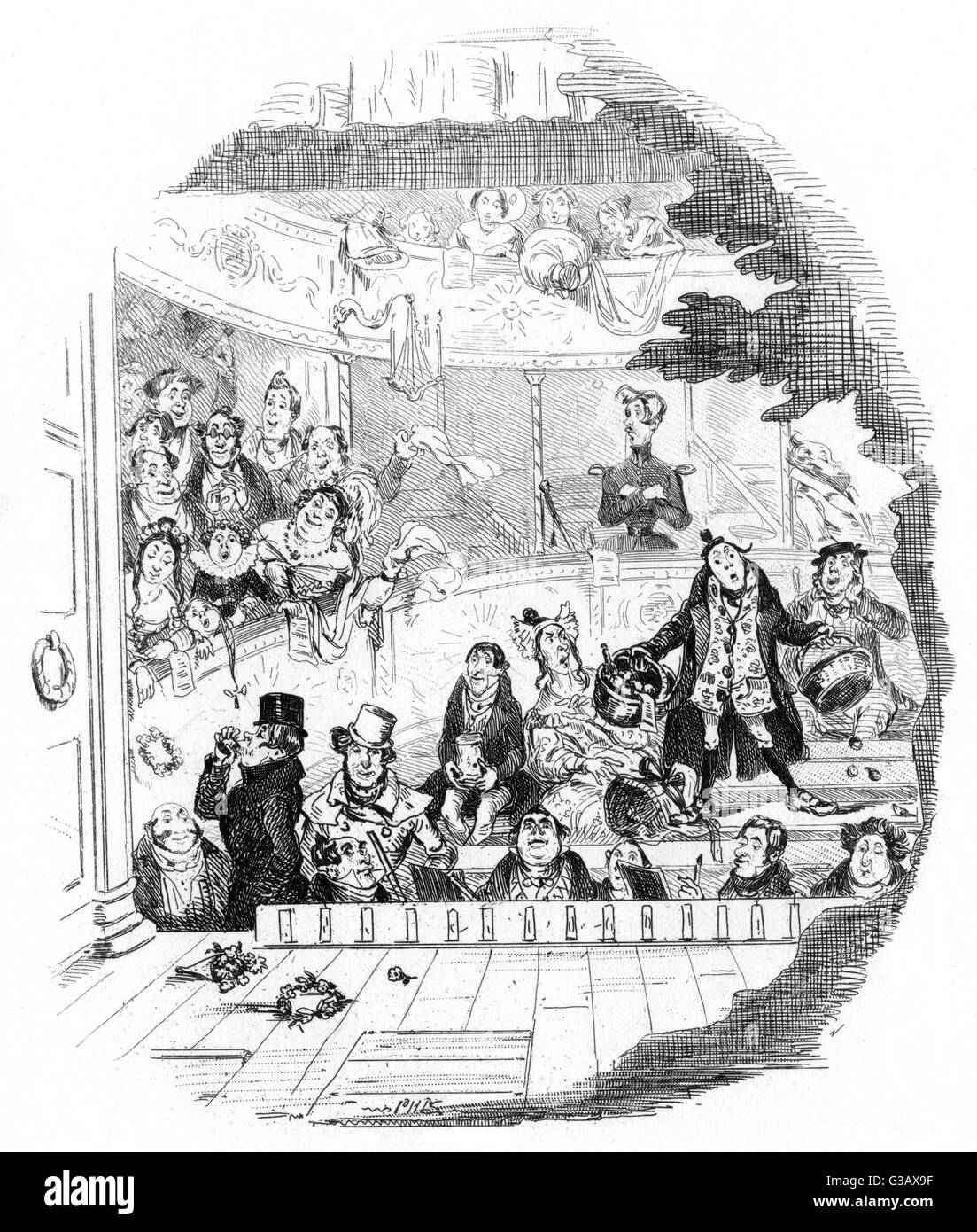 The great bespeak for Miss  Snevellicci.        Date: First published: 1838-39 - Stock Image