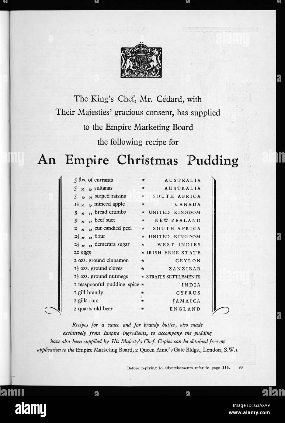 A recipe for Christmas Pudding  which uses only ingredients  from The British Empire      Date: 1927 - Stock Image