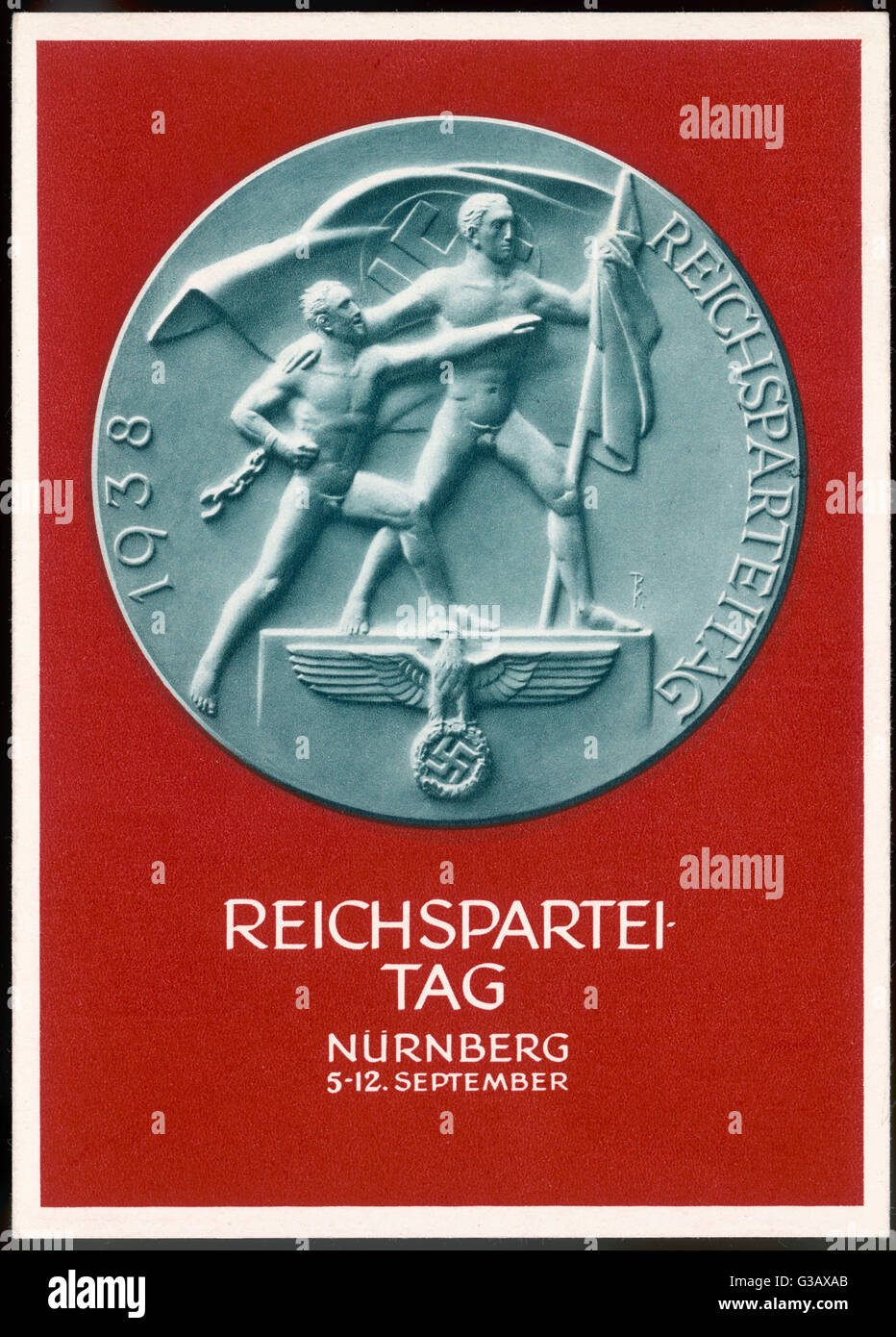 Medal to celebrate  Reichsparteitag, Nuremberg.        Date: 5-12 September 1938 - Stock Image