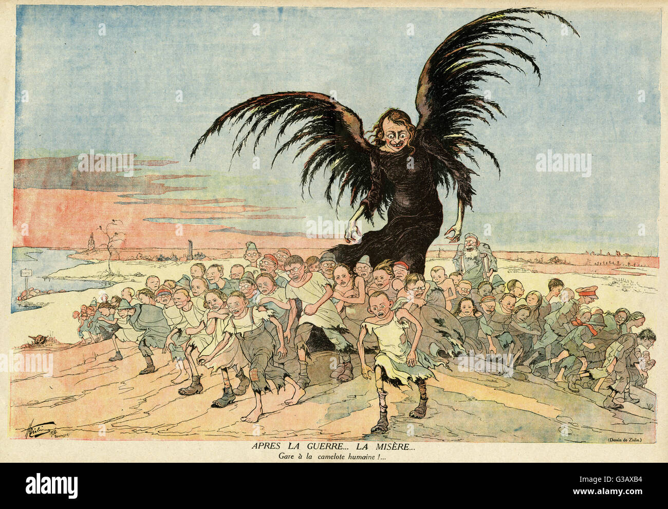 Cartoon, After War, Misery.  Showing a large, vulture-like figure towering over a group of ragged adults and children. - Stock Image