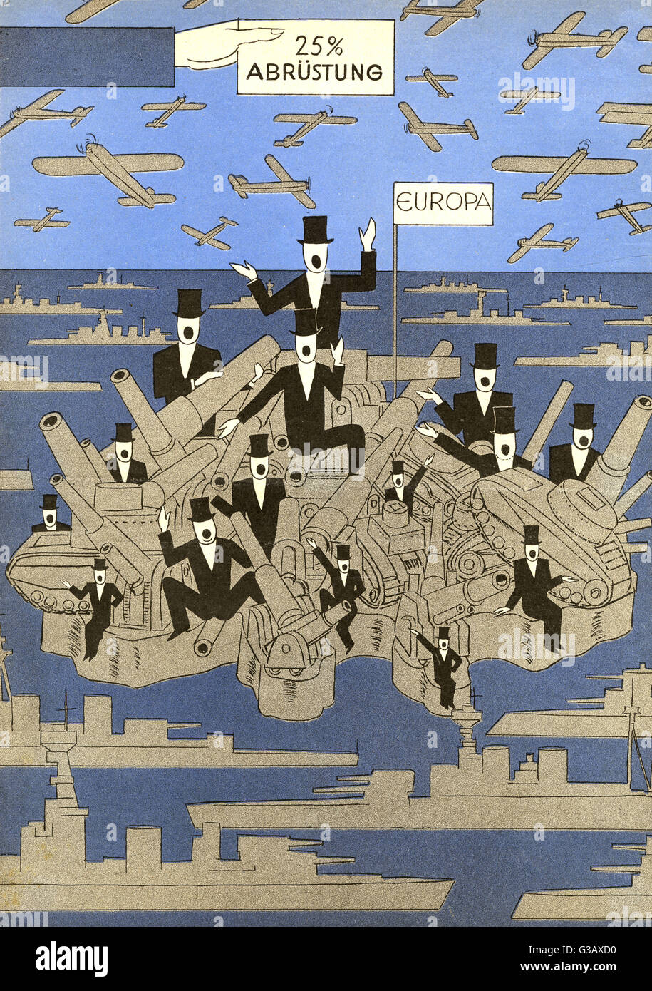 Armed Europe can't see its way  to making even a 25% cutback  in armaments        Date: 1932 - Stock Image