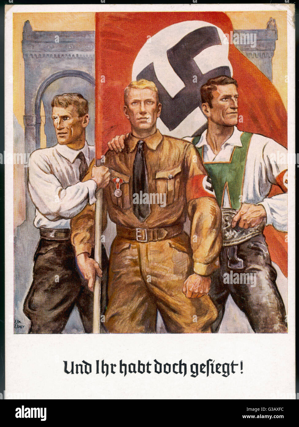 'And yet we have conquered !' Three fine Germans symbolise  the Master Race at the 15th  commemoration of - Stock Image