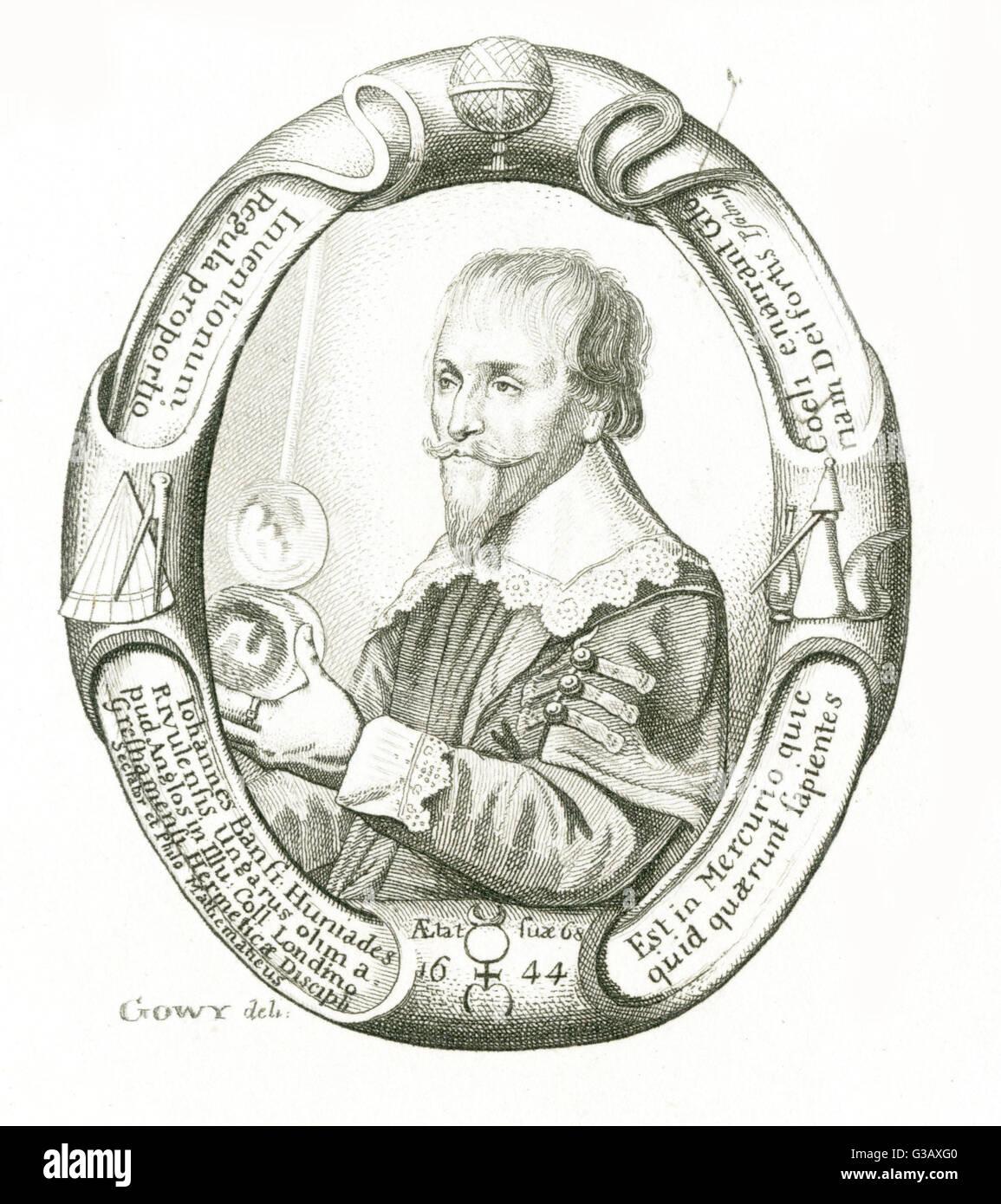 alchemist, at age 68         Date: 1576 - 1646 - Stock Image