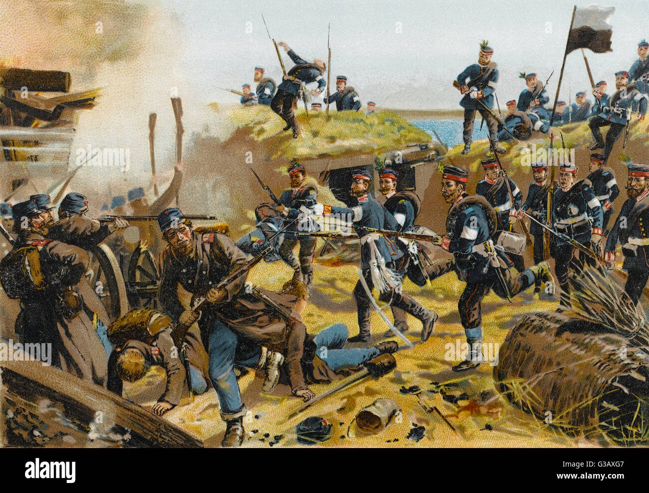 Storming of DER DUPPELER  SCHANZEN by the Prussians : depicted is the entry of the  3rd and 4th Garde-Regiments - Stock Image