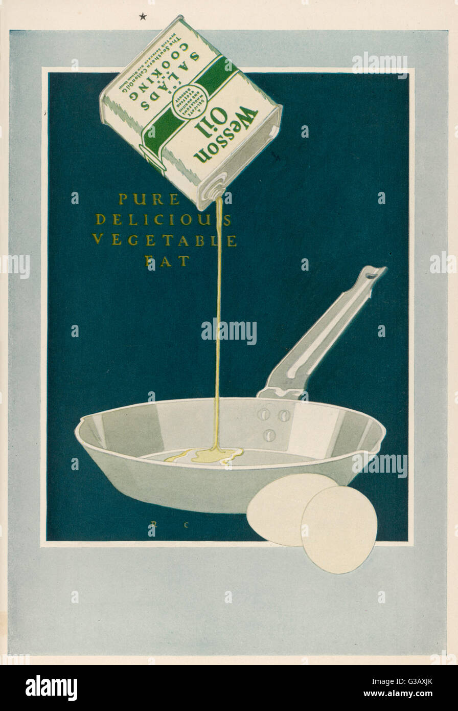 Wesson Oil, made from  vegetable fat, for salads  and cooking        Date: 1921 - Stock Image