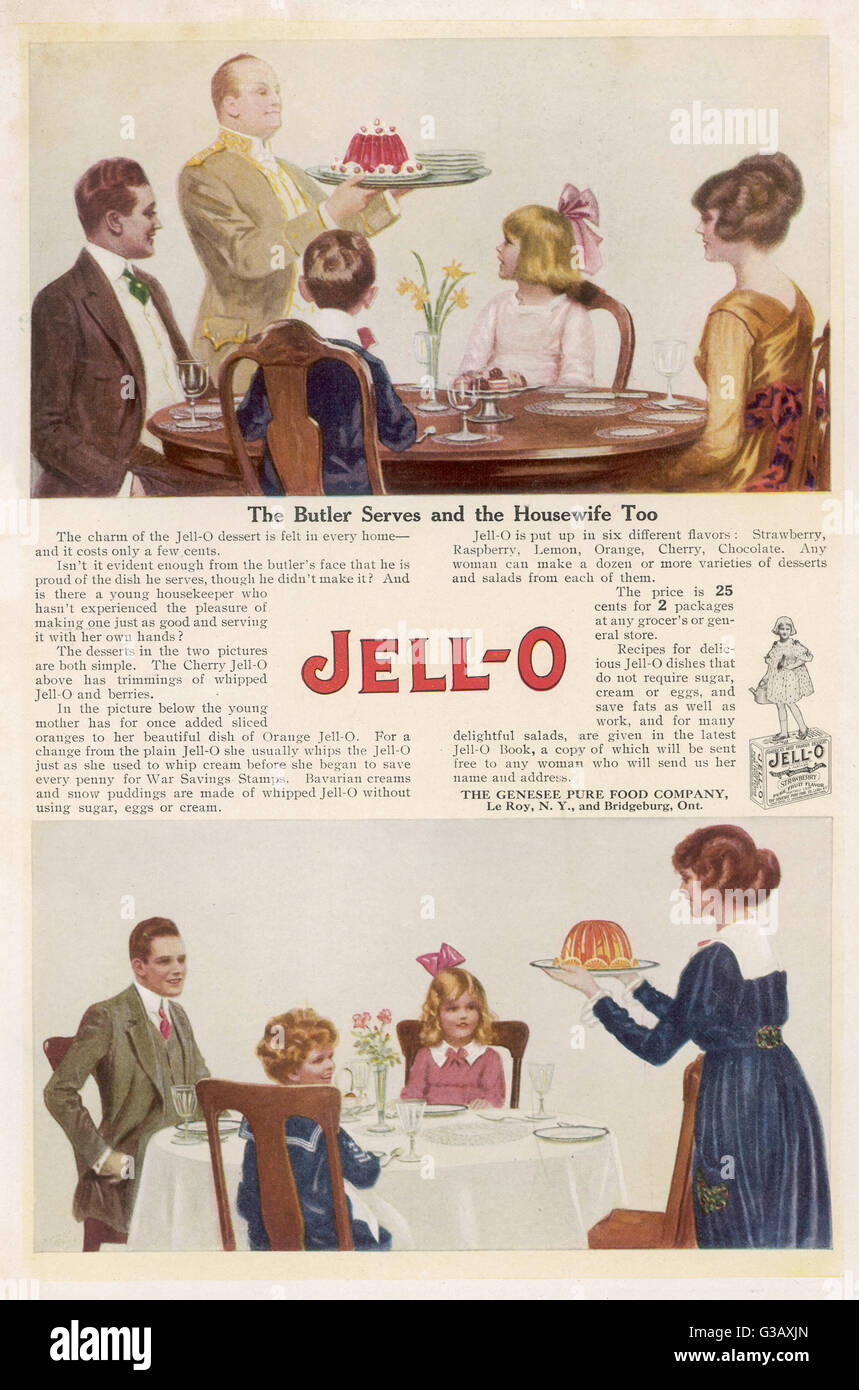 'The Butler serves and the  Housewife too, for the charm  of the Jell-O dessert is felt  in every home - isn't it Stock Photo