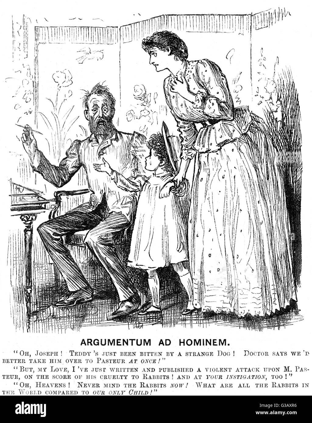 A moral dilemma. Satire on the ethics of  Louis Pasteur's experiments on  animals.      Date: 1889 - Stock Image