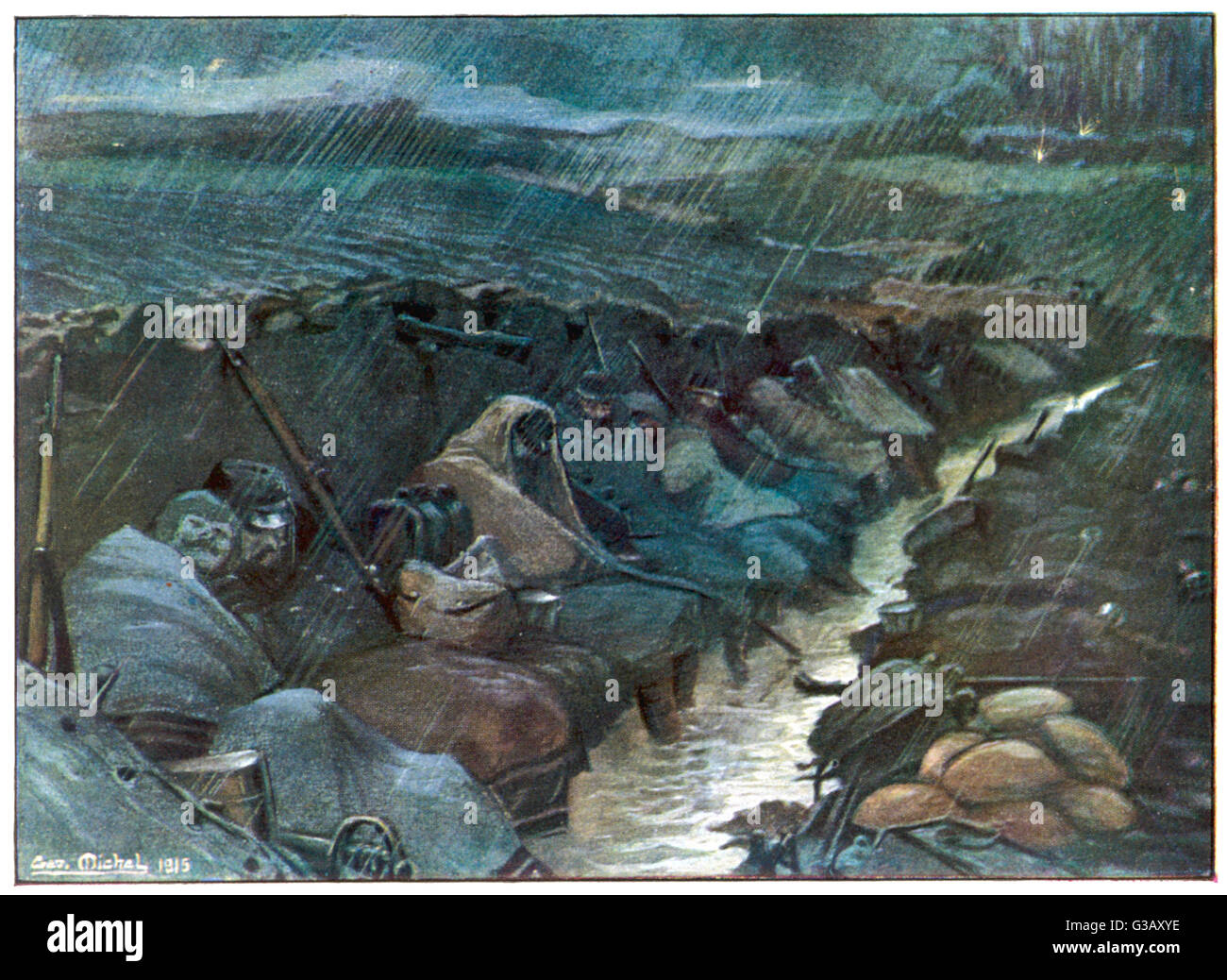 Ankle-deep in water which is  added to by the pouring rain,  huddled under wet capes in a  muddy trench shared with - Stock Image