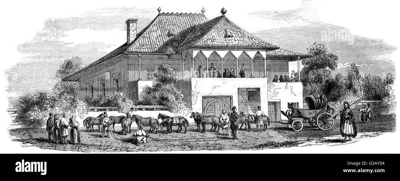A Postal Relay Station at  Moldo-Valachie, Romania.         Date: 1848 - Stock Image