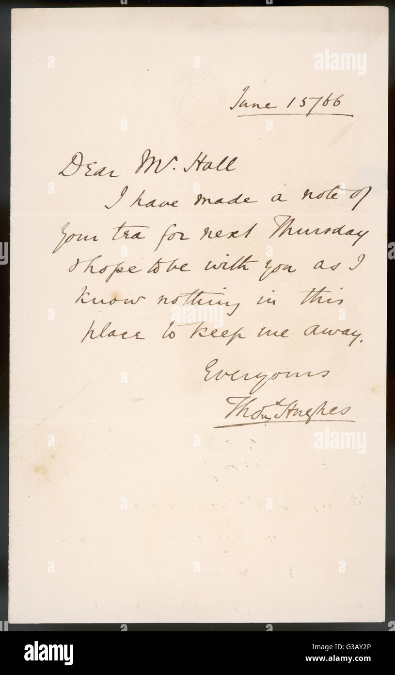 A letter from the English MP  and author of Tom Brown's  Schooldays - written on House  of Commons notepaper - Stock Image