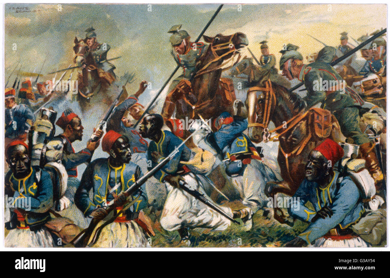 In the Vosges mountains of  north-east France, German  Uhlan cavalry rout a force of  French Zouaves and black  - Stock Image