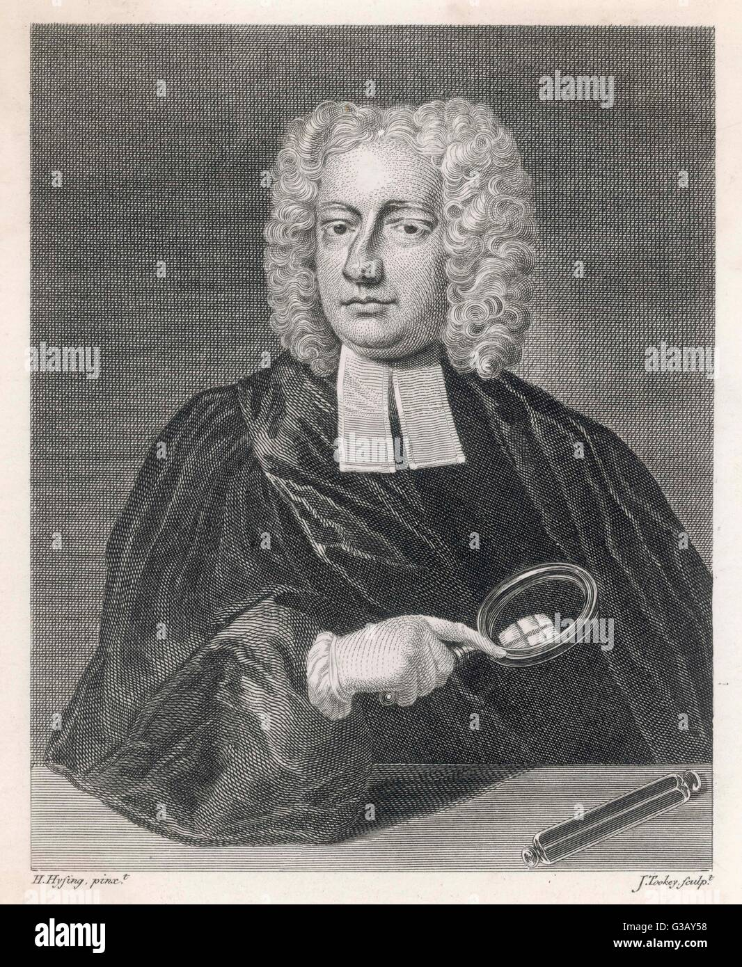 JOHN THEOPHILUS DESAGULIERS French Huguenot refugee in  England, scientist, third  grand master in Freemasons   - Stock Image