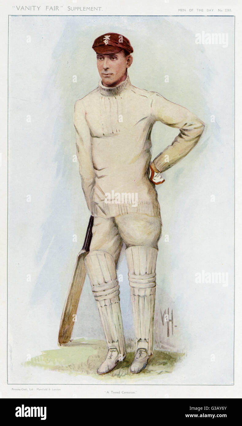 Jack Hobbs (Sir John Berry Hobbs), English cricketer (1882-1963)       Date: 1912 - Stock Image