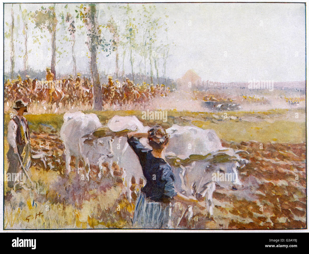 On a fine autumn day, British  cavalry advance towards the  front through the French  countryside, watched by  peasants - Stock Image