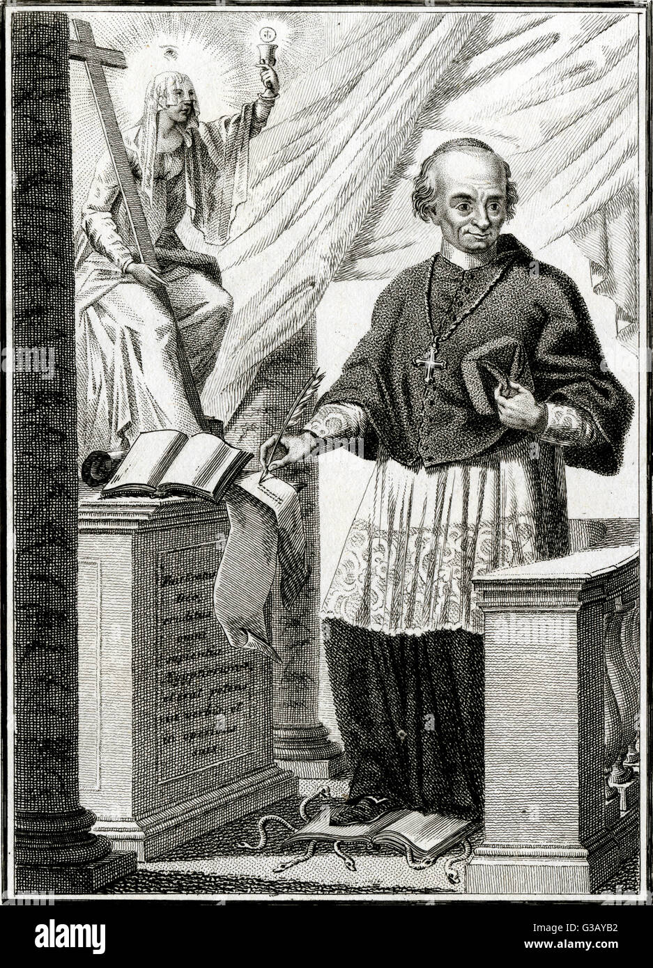 HYACINTHE SIGMUND GERDIL French cardinal, trampling on  a serpent-ridden book -  perhaps written by a  theologian - Stock Image