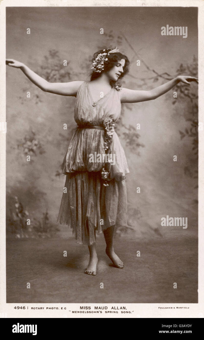 MAUD ALLAN  Actress and dancer portraying Mendelssohn's Spring Song       Date: 1880 - 1956 - Stock Image