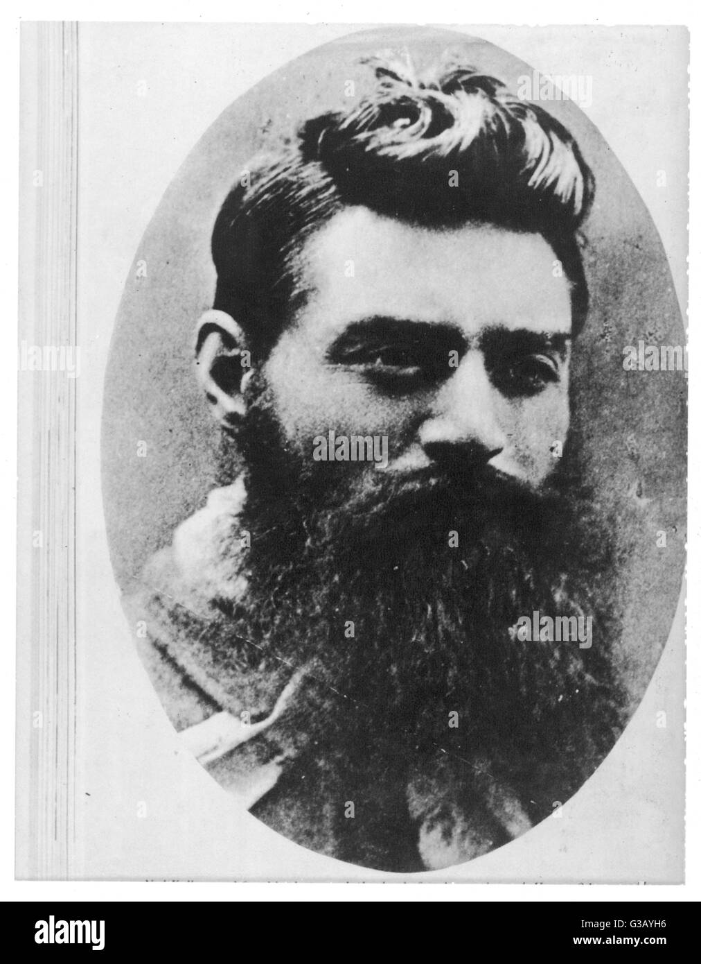 Portrait photograph of Australian bushranger Ned Kelly, taken the day before  his hanging at the age of 24.     Stock Photo