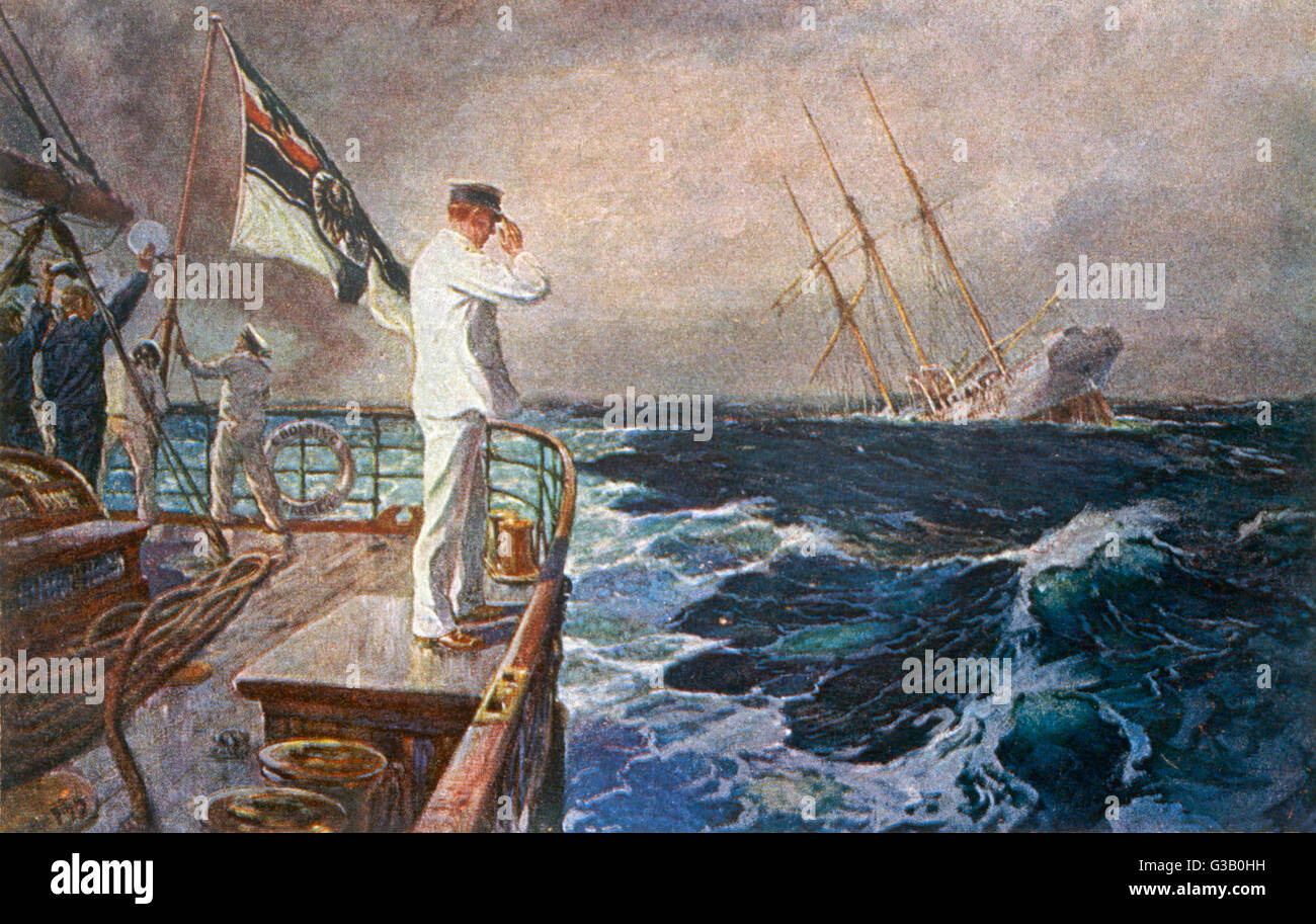 The captain of a German  warship, having sunk an enemy  vessel, shows his good  breeding by saluting the ship  and - Stock Image