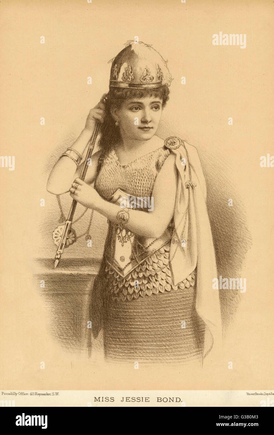 JESSIE BOND  Actress, wearing armour        Date: 1889 - Stock Image
