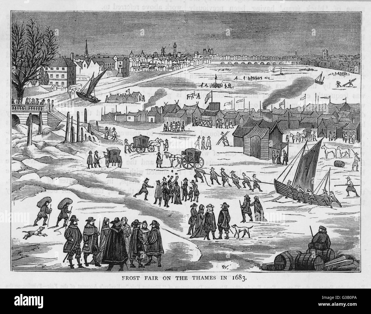 Frost fair on the Thames,  London.  People enjoying the  varied activities and stalls.       Date: 1683 - Stock Image