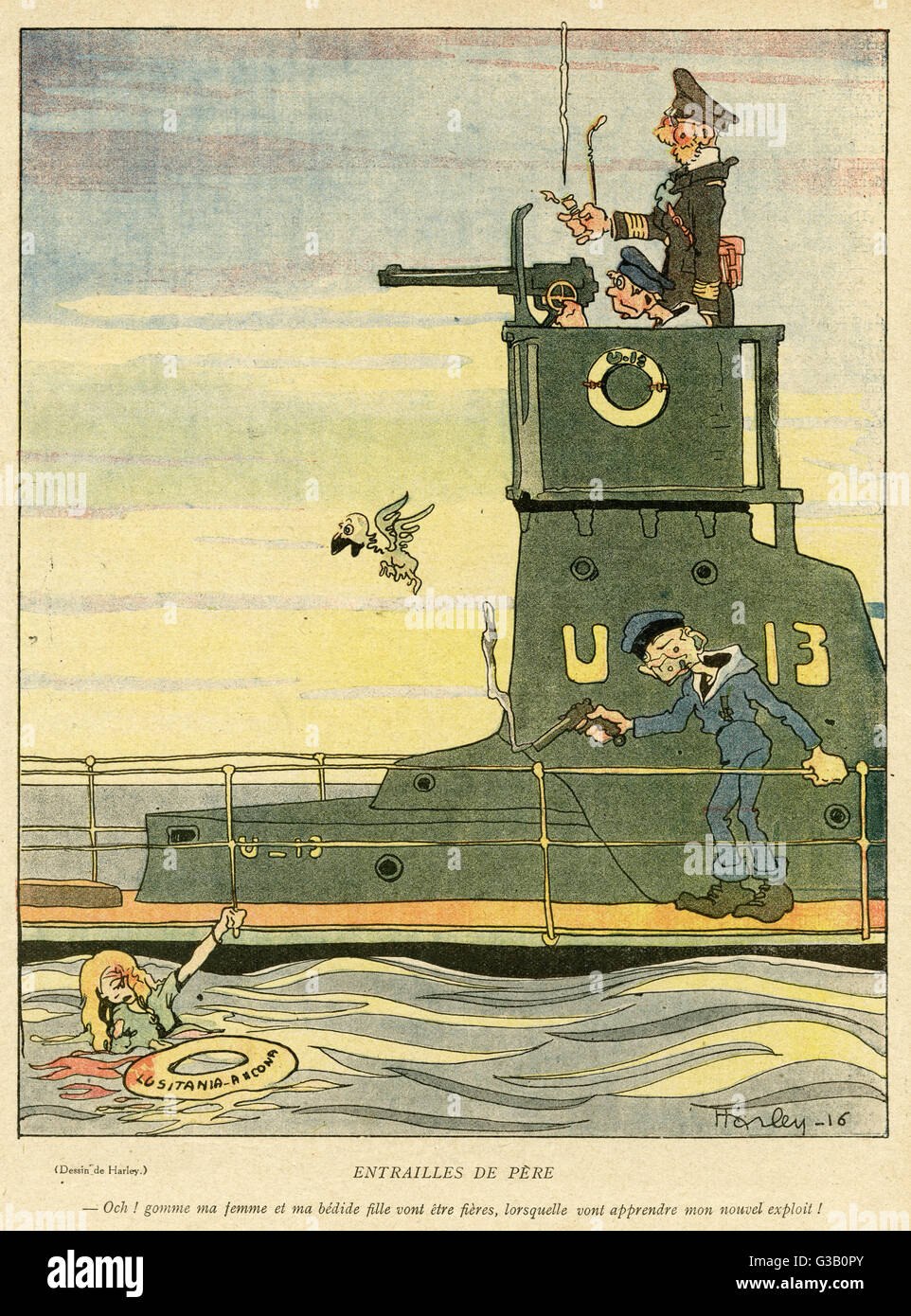 Cartoon, The Father's Guts.  A German U-boat crewman shoots a female survivor of the Lusitania, saying: How - Stock Image