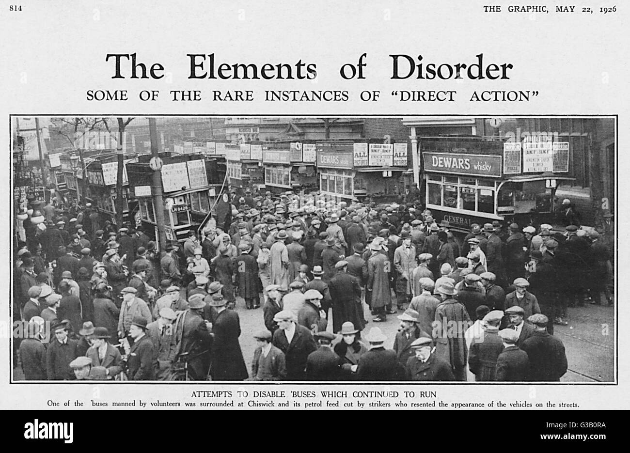 The Elements of Disorder :  Buses manned by volunteers at  Chiswick are surrounded by  saboteurs intent upon cutting - Stock Image