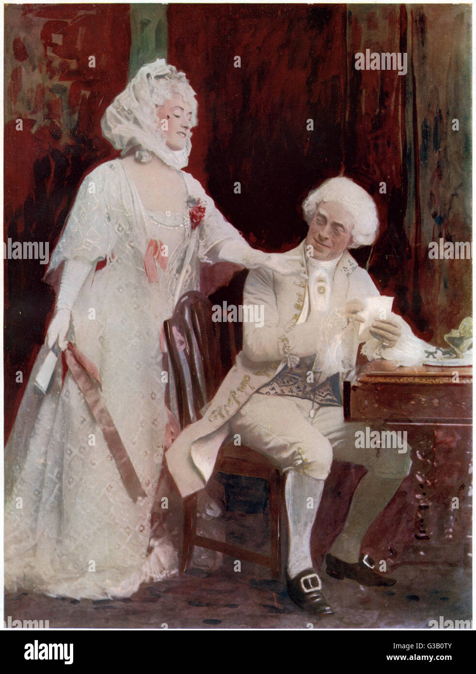 WINIFRED EMERY  English actress, seen  here with her husband  Cyril Maude in 'School  for Scandal'     Date: - Stock Image