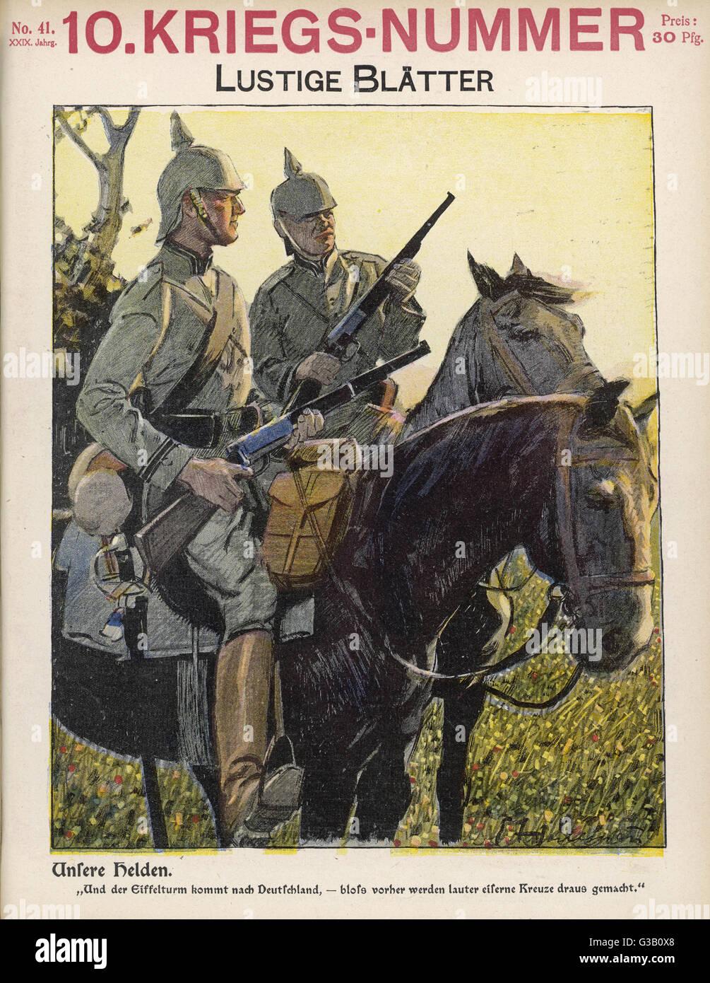 German mounted riflemen.           Date: 1914 - Stock Image