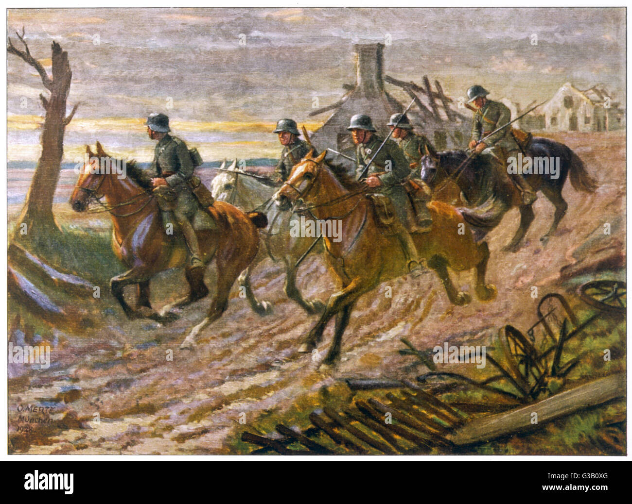 A German cavalry patrol ride  through the ruins of a  village.        Date: 1914 - 1918 Stock Photo