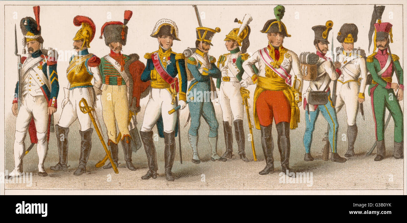 French soldiers  and officers (1-6)        Date: 18th century - Stock Image