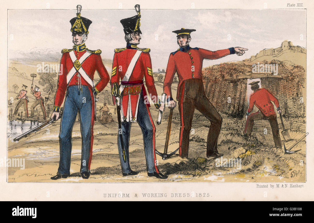 Sappers and Miners in uniform and working dress       Date: 1825 - Stock Image