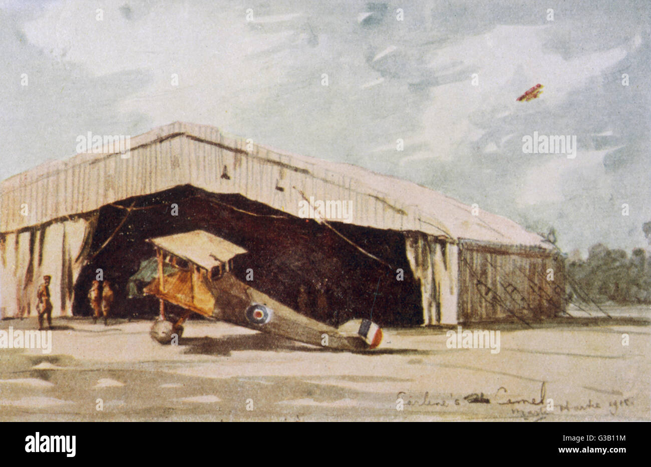 A Sopwith 'Camel' grounded at  Vicenza aerodrome         Date: 1918 - Stock Image