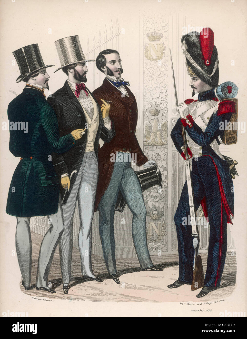 French soldiers  with three civilian men        Date: 1854 - Stock Image
