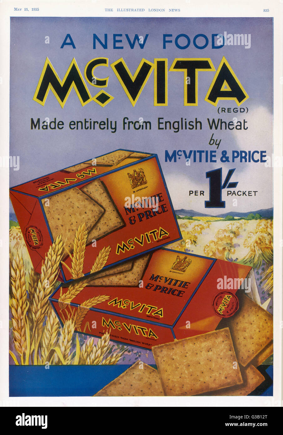 McVitie's McVita wheat biscuits, made entirely from English wheat at  one shilling a packet      Date: 1935 - Stock Image