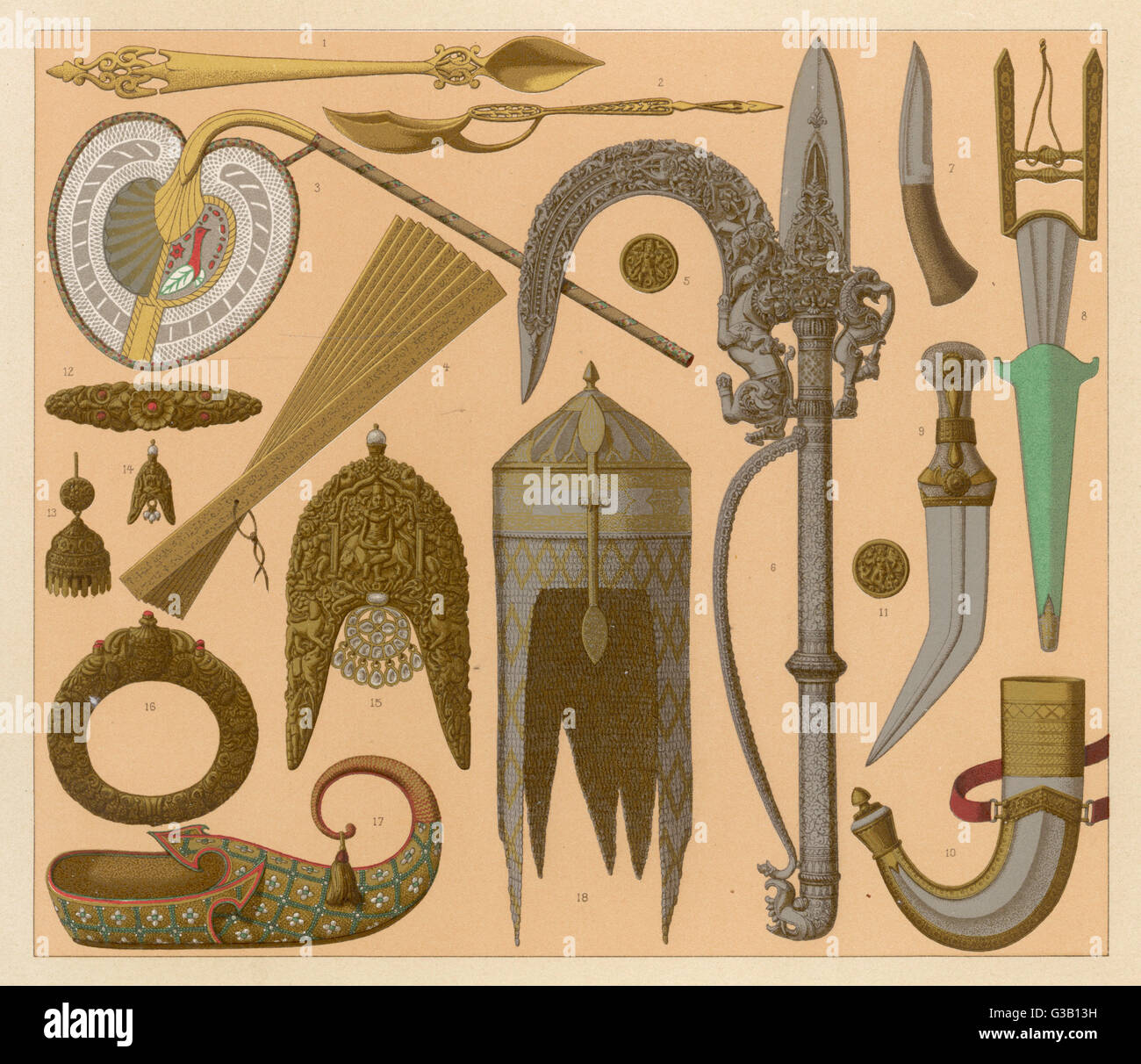 Assorted weapons  and other artefacts from India - Stock Image