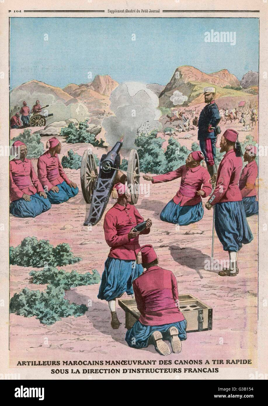 French teach Moroccans to use a quick-firing cannon        Date: 1911 - Stock Image