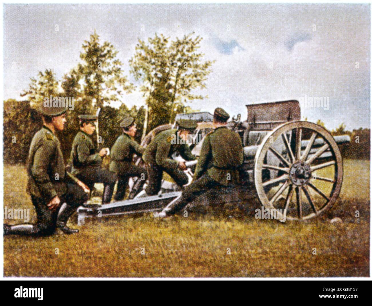 Russian artillery during the First World War        Date: 1914 - Stock Image