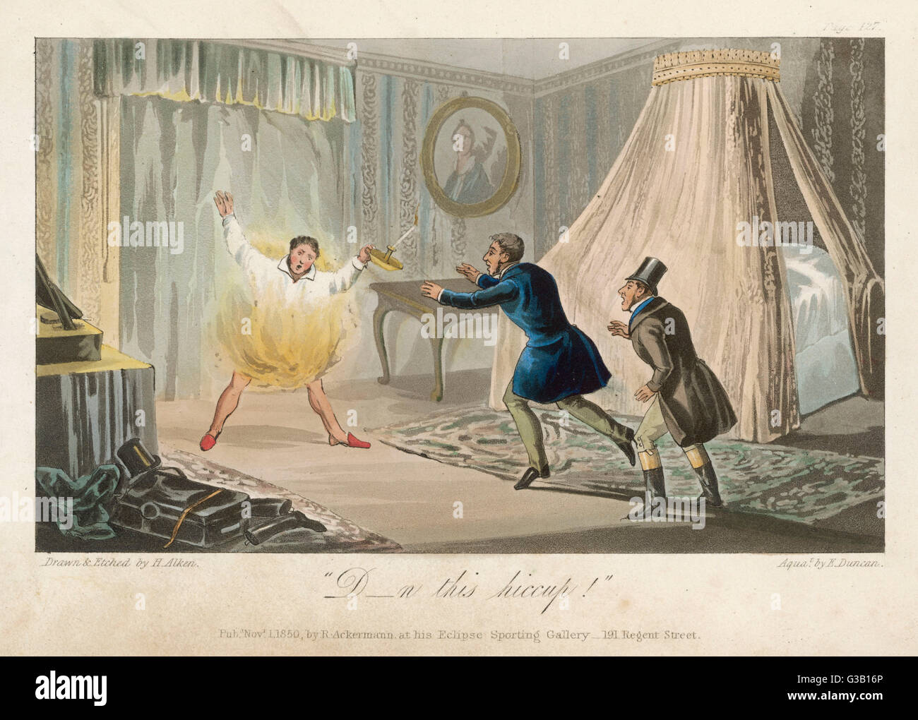 """""""Damn this hiccup!"""" As a final act of folly this  English eccentric sets fire to  his nightshirt - Stock Image"""