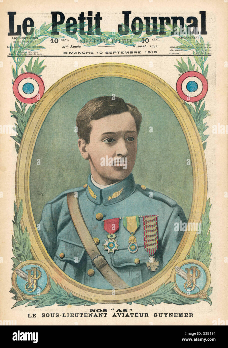 GEORGES GUYNEMER  Both popular hero and an  airman of distinction,  Guynemer won many medals in his prolific career - Stock Image
