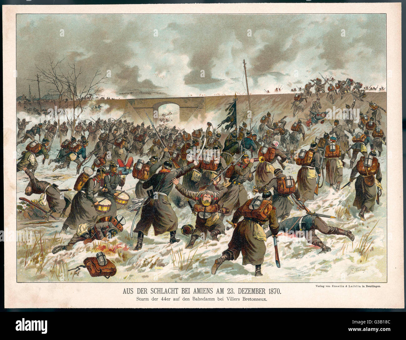 Battle of Amiens during the  Franco-Prussian War: the  Prussians' 44th regiment  attacks a rail embankment  - Stock Image