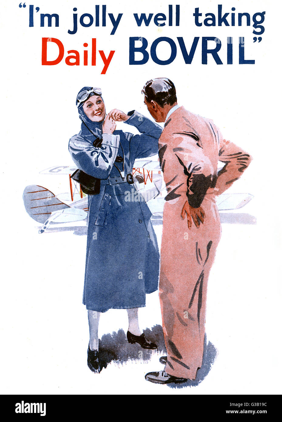 "A lady aviator says  ""I'm jolly well taking Daily Bovril""       Date: 1938 - Stock Image"